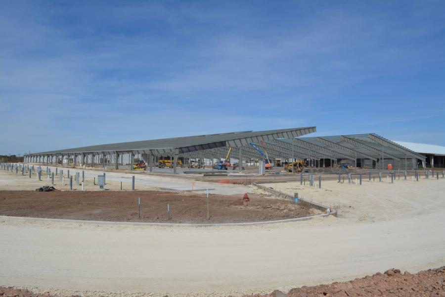 The new livestock building at the Taylor County Expo Center during construction at the Abilene site.