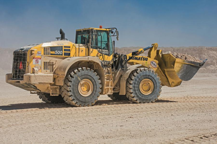 "An operator from CSA Materials (a sister company to Reece Albert Inc.) moves material with a Komatsu WA500-8 yard loader. ""Our operators like the smooth ride, ease of the controls and the cab comfort,"" said Reece Albert Inc. Equipment Manager Daniel Rowzee."