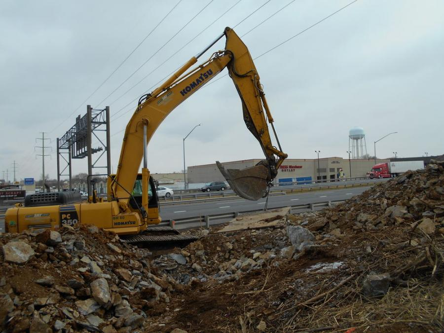 An excavator is in use at the MD 85/I-270 project.