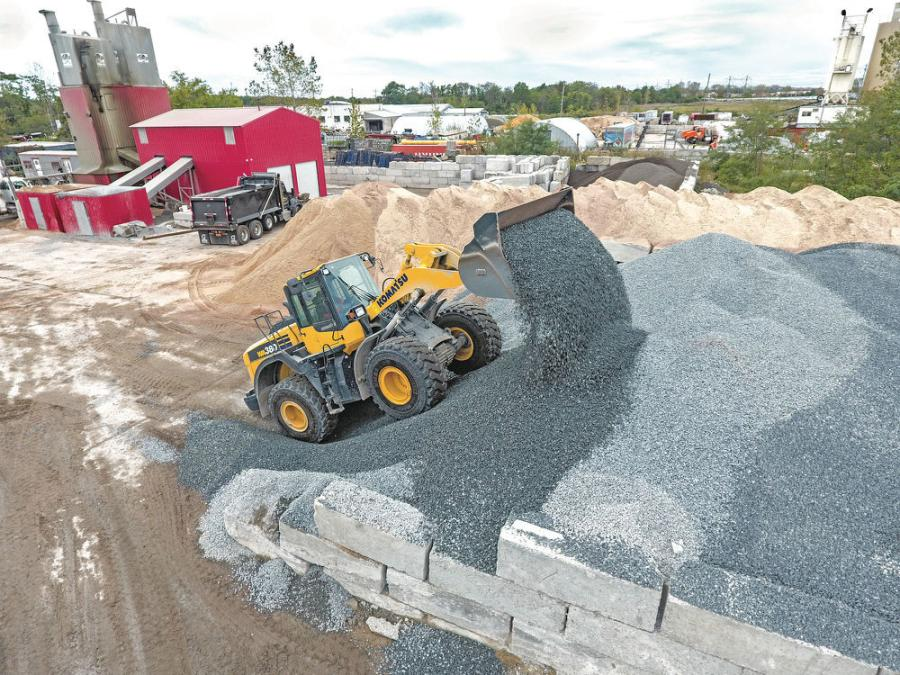 "The company's Komatsu WA380-8 wheel loader is put to work stockpiling materials. ""It's a great machine and is the perfect size to keep our plants stocked,"" noted Co-owner Joe Garofalo."