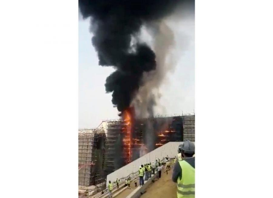 Firefighters extinguished the fire, which consumed wooden scaffolding at the construction site of the new Grand Egyptian Museum, located near the famed pyramids of Giza just outside Cairo, the ministry said in a statement.