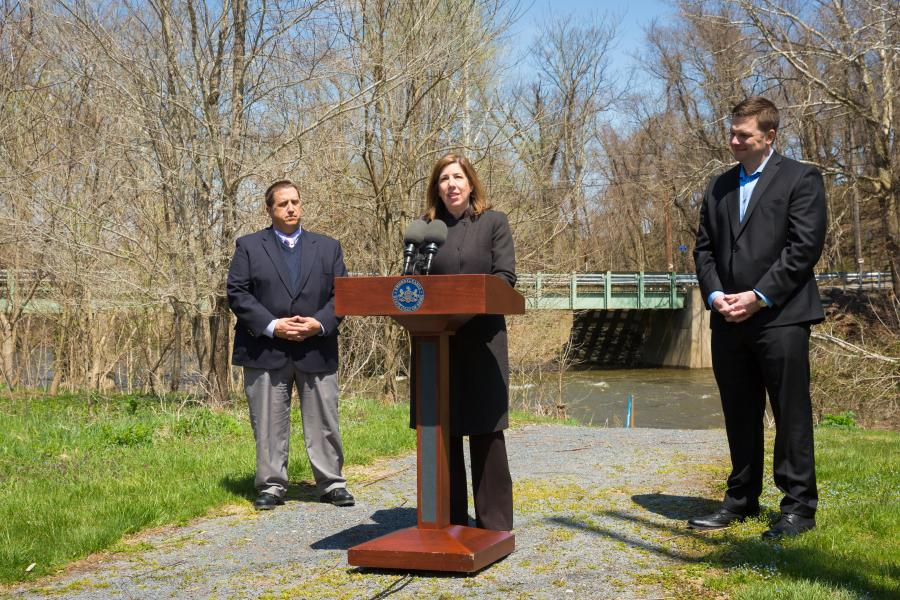 There are 390 bridges complete and open to traffic with 50 under construction in the state's public-private partnership (P3) for bridges, the Rapid Bridge Replacement project, Pennsylvania Department of Transportation Secretary Leslie S. Richards said at a media event April 18, 2018.