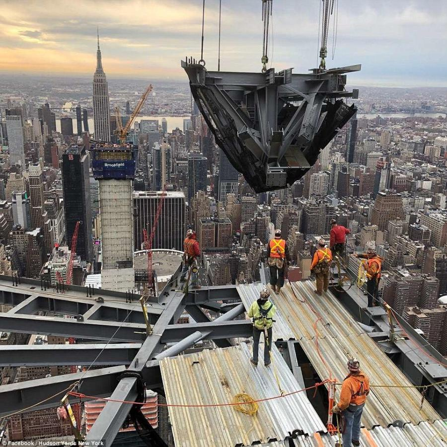 Construction on the observation deck in New York City's Hudson Yards neighborhood is well under way