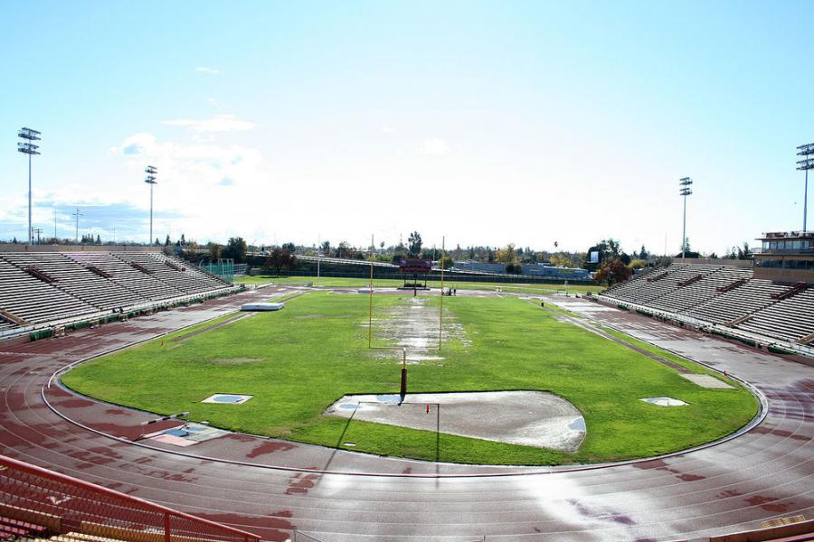 Hughes Stadium before demolition began.