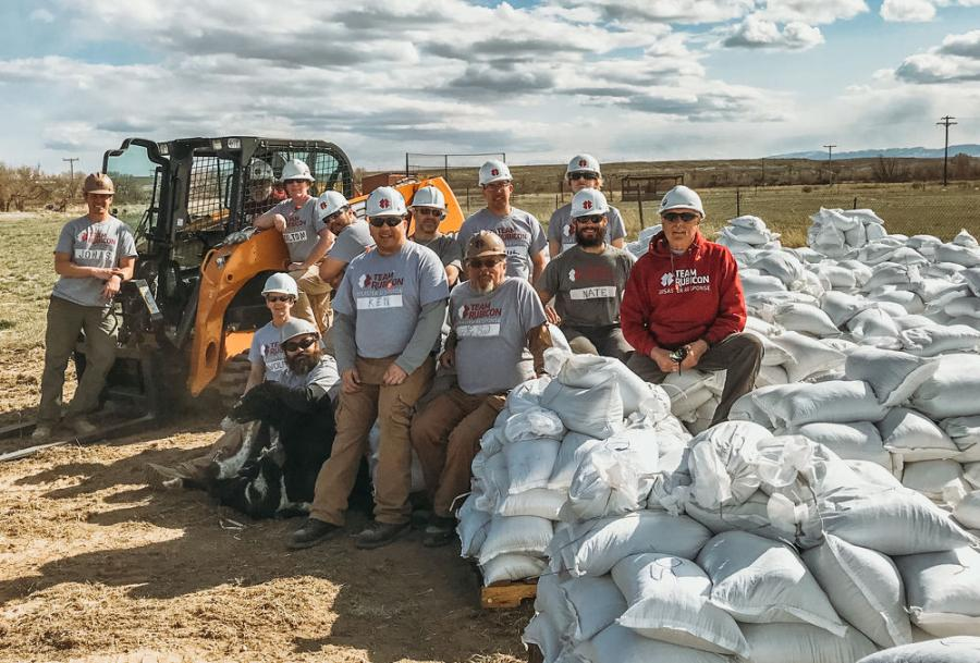 Team Rubicon, with the help of a Case TR340 compact track loader, loaded nearly 15,000 sandbags that were distributed to area residents.