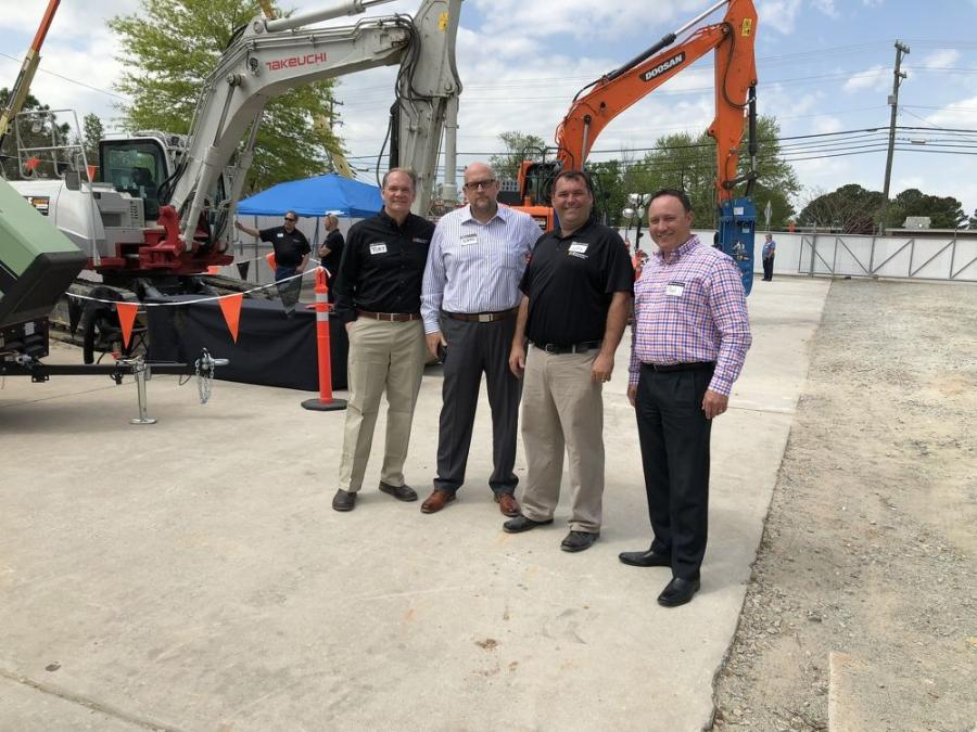(L-R): Members of the executive team from H&E included Toby Hawkins, director of marketing; Brad Barber, president and chief operating officer; Justin Gnagy, Durham operations manager, and Paul Stephen, vice president of sales and marketing.