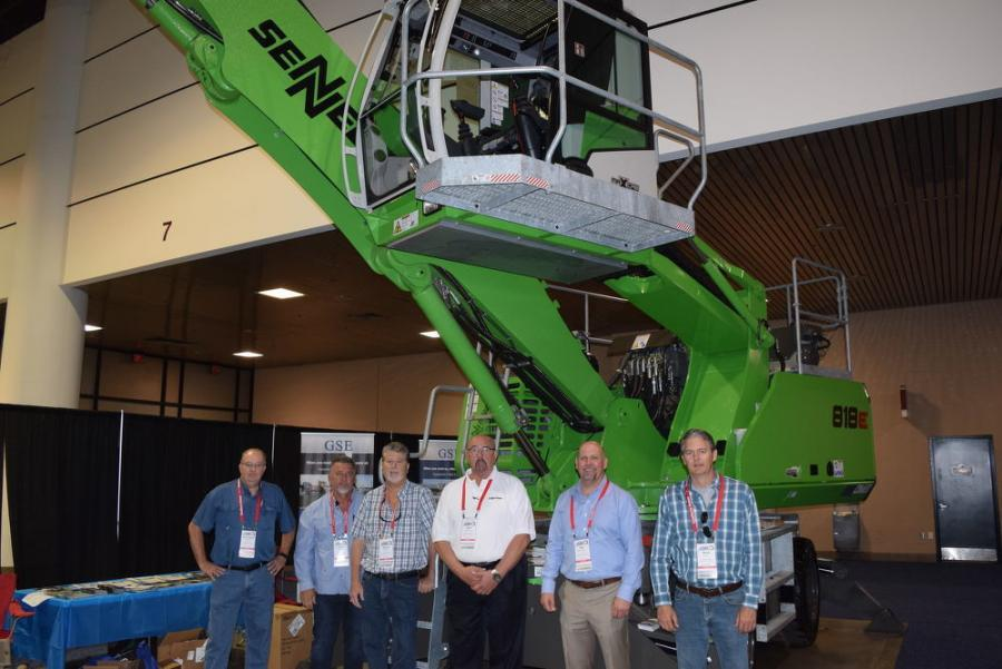 (L-R): Lanny Hollifield, vice president of parts, GSE; Dave Parker, branch manager, Jacksonville, GSE; Bruce Bowers, vice president of sales, Tampa, GSE; John Roseberry, sales manager, GSE; Ray Ferwerda, president/CEO, GSE; and Steve Tuton, sales representative, Tampa, GSE, all stand ready to discuss the features and benefits of this new Sennebogen 818E.