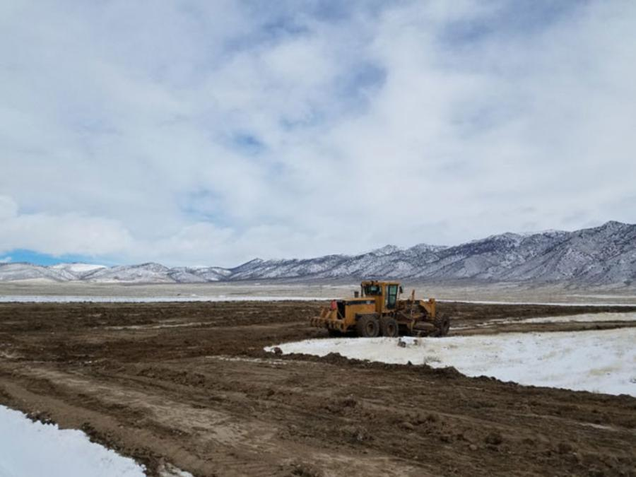 Initial ground clearing at Relief Canyon. (Pershing Gold Corporation photo)