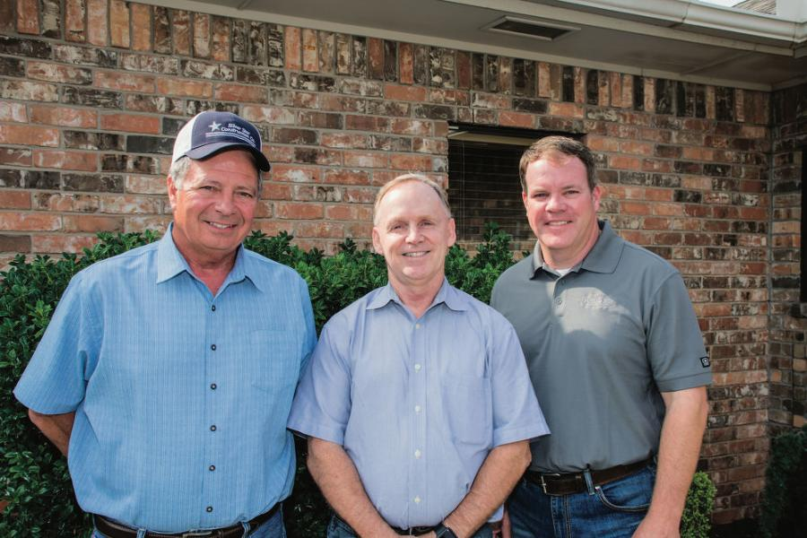 "(L-R): Steve Shawn, Silver Star Construction president and Craig Parker, executive vice president meet with Ryan Bebee, Kirby-Smith territory manager at Silver Star's office. ""Kirby-Smith has always provided good service, and they and Ryan were outstanding about getting us the information we needed to make solid, informed decisions on the Wirtgen products,"" said Parker."