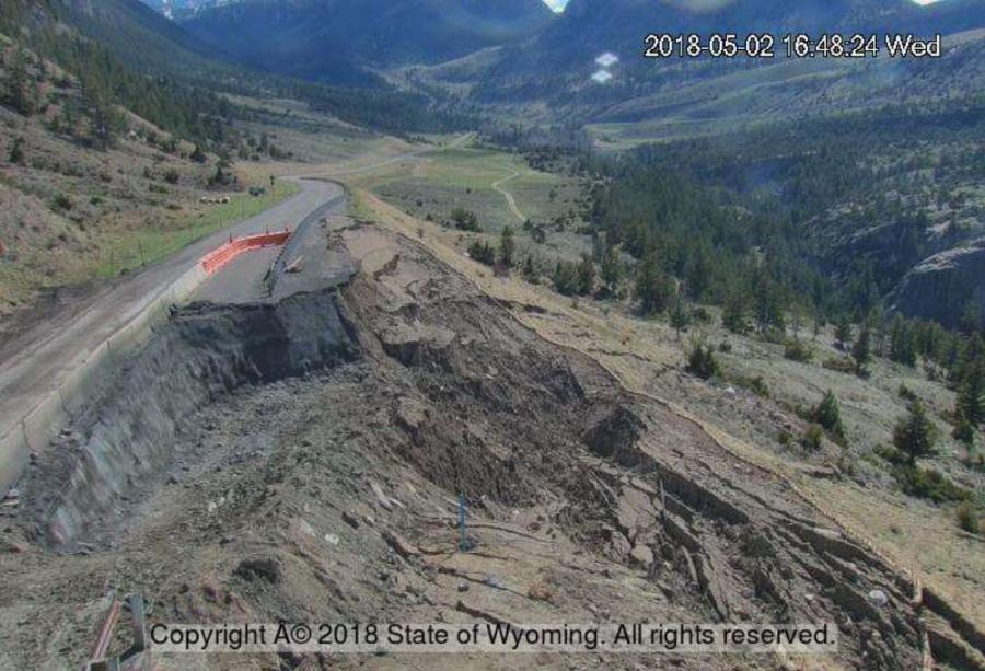 WYDOT continues temporary repairs of new cracks in WYO 296 on the switchback above the Chief Joe Slide area.
