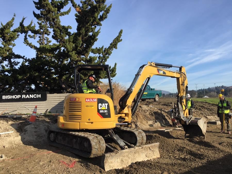 Granite Construction, using a Cat 305.5E mini-hydraulic excavator, works at the Bishop Ranch/Bollinger Canyon Road intersection.