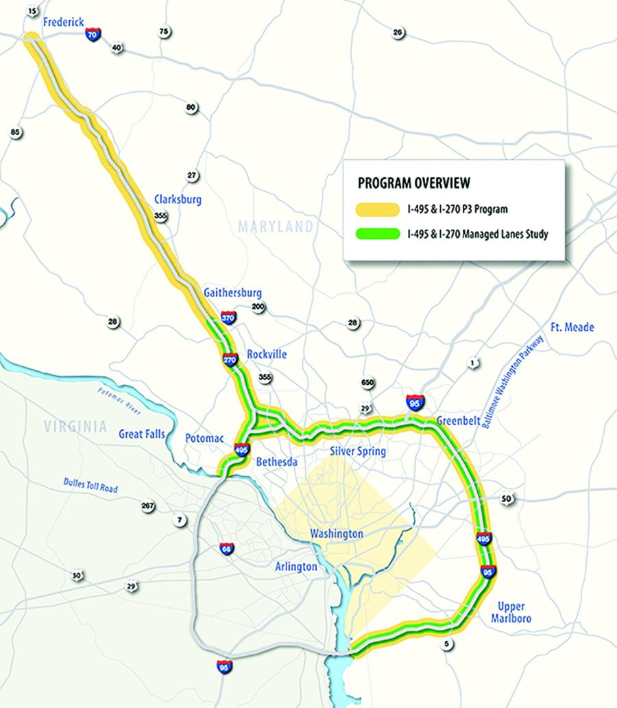 The overall I-495 & I-270 Public-Private Partnership (P3) Program will include improvements for more than 70 miles of interstate in Maryland.
