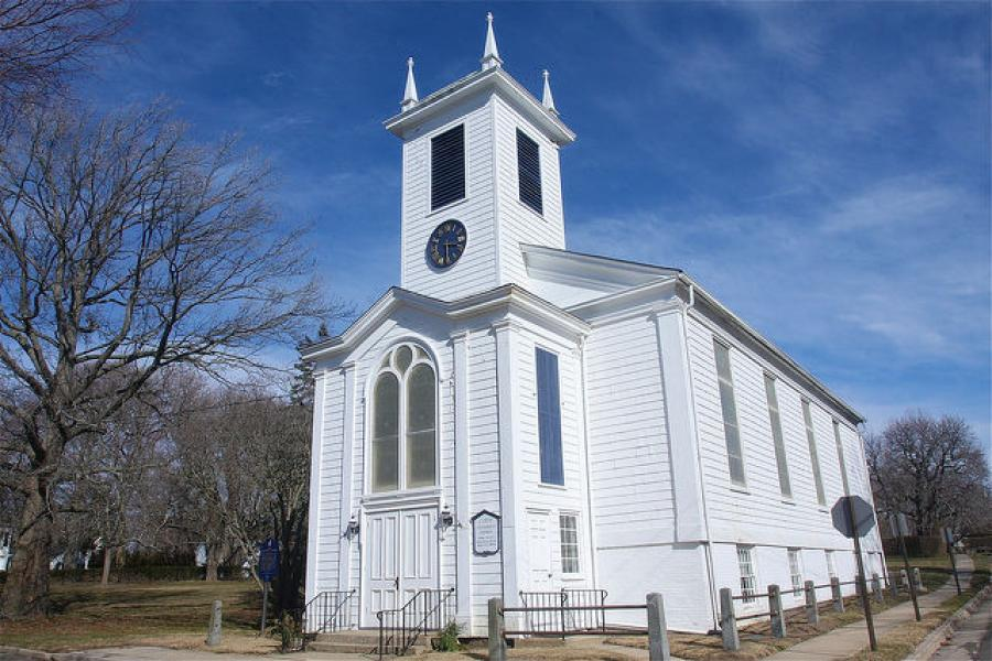 Construction on a new apartment complex across the street is affecting the 100-year-old Riverhead church. (The Suffolk Times photo)