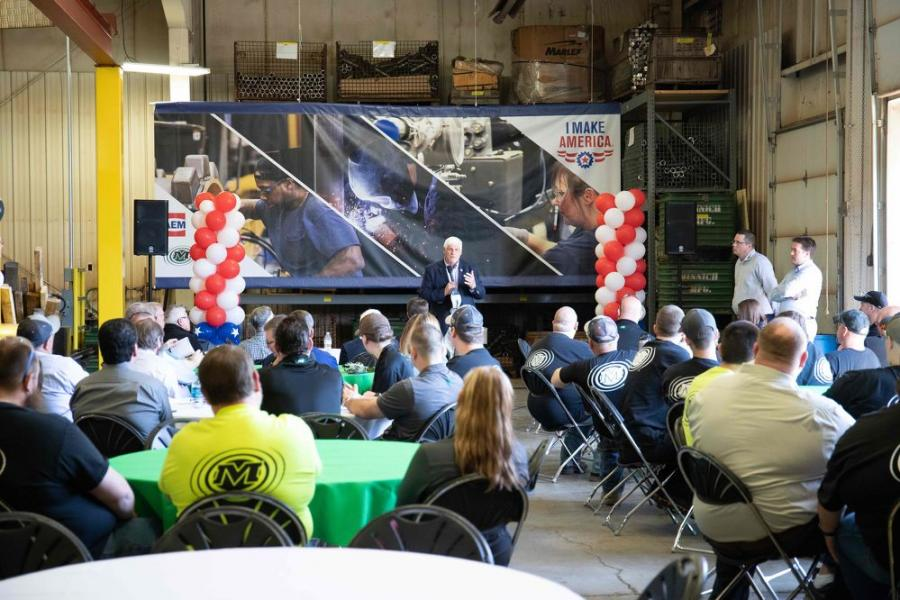Congressman Bob Gibbs of Ohio addresses the crowd during an Association of Equipment Manufacturers (AEM) I Make America event at Minnich Manufacturing on May 1, 2018, in Mansfield, Ohio.