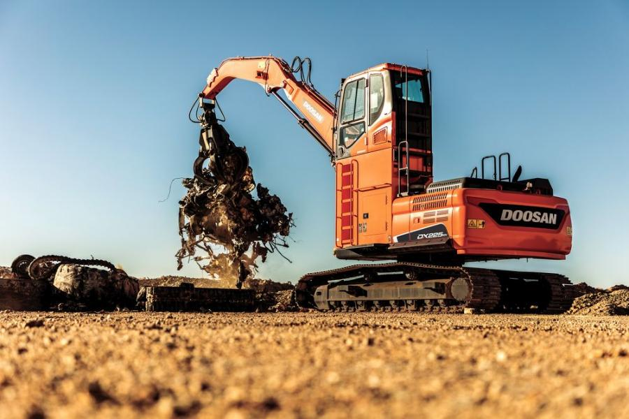 The DX225MH-5 material handler is factory fitted with cab risers for increased visibility; straight boom and droop nose arm for peak performance; and additional machine guarding for boosted uptime protection.
