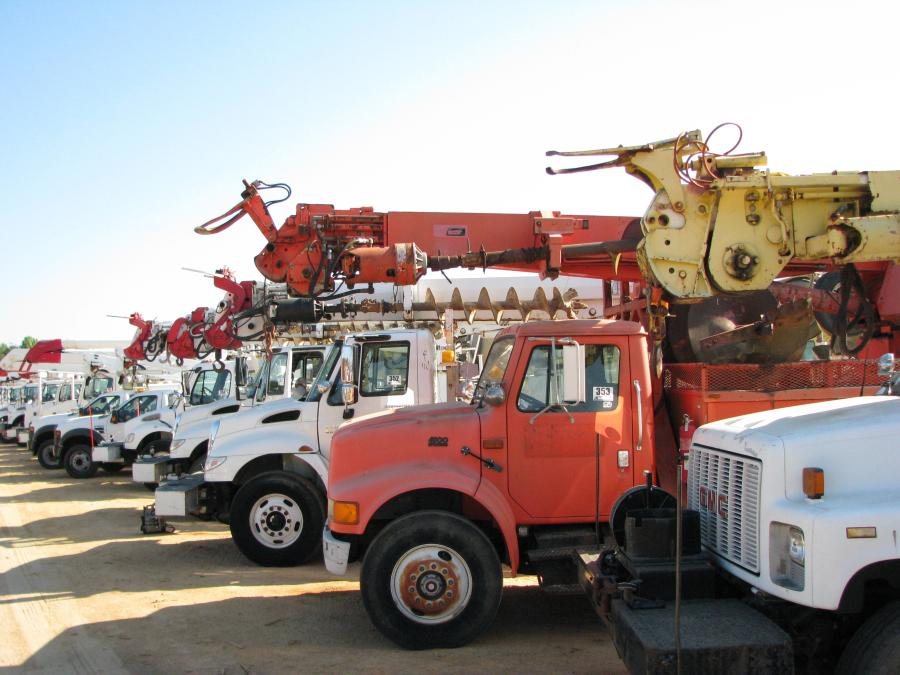 A large lineup of utility trucks was available at the sale.