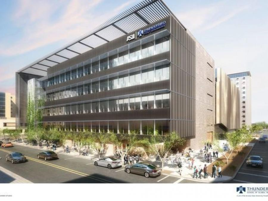 Artist rendering of the new building for the Thunderbird School of Global Management.  (Arizona State University photo)