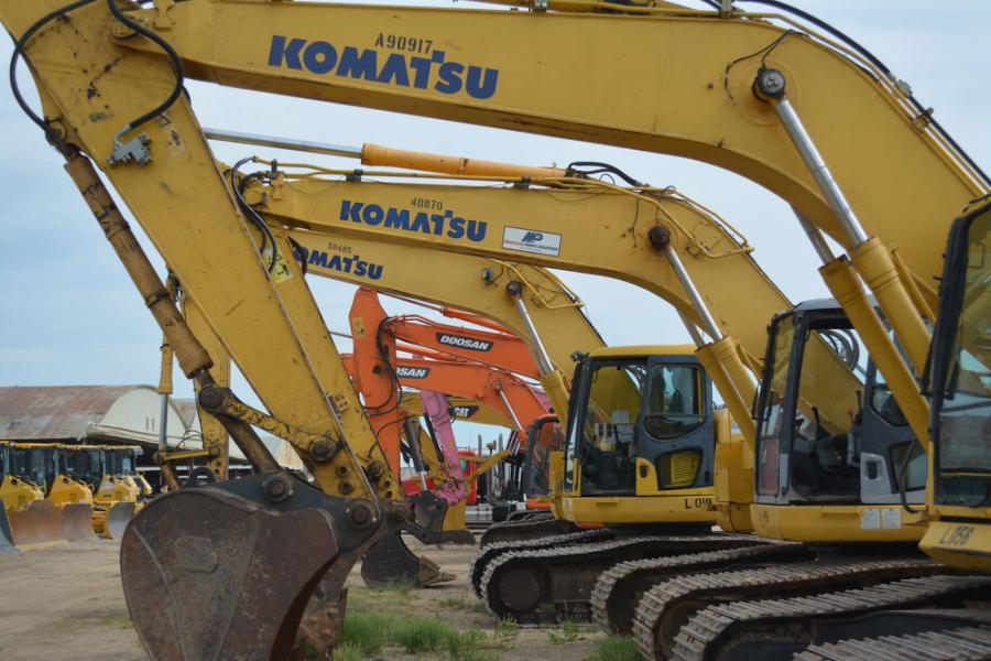 A huge selection of excavators went up for sale at the Fort Worth auction, including Komatsu, Doosan and Caterpillar.
