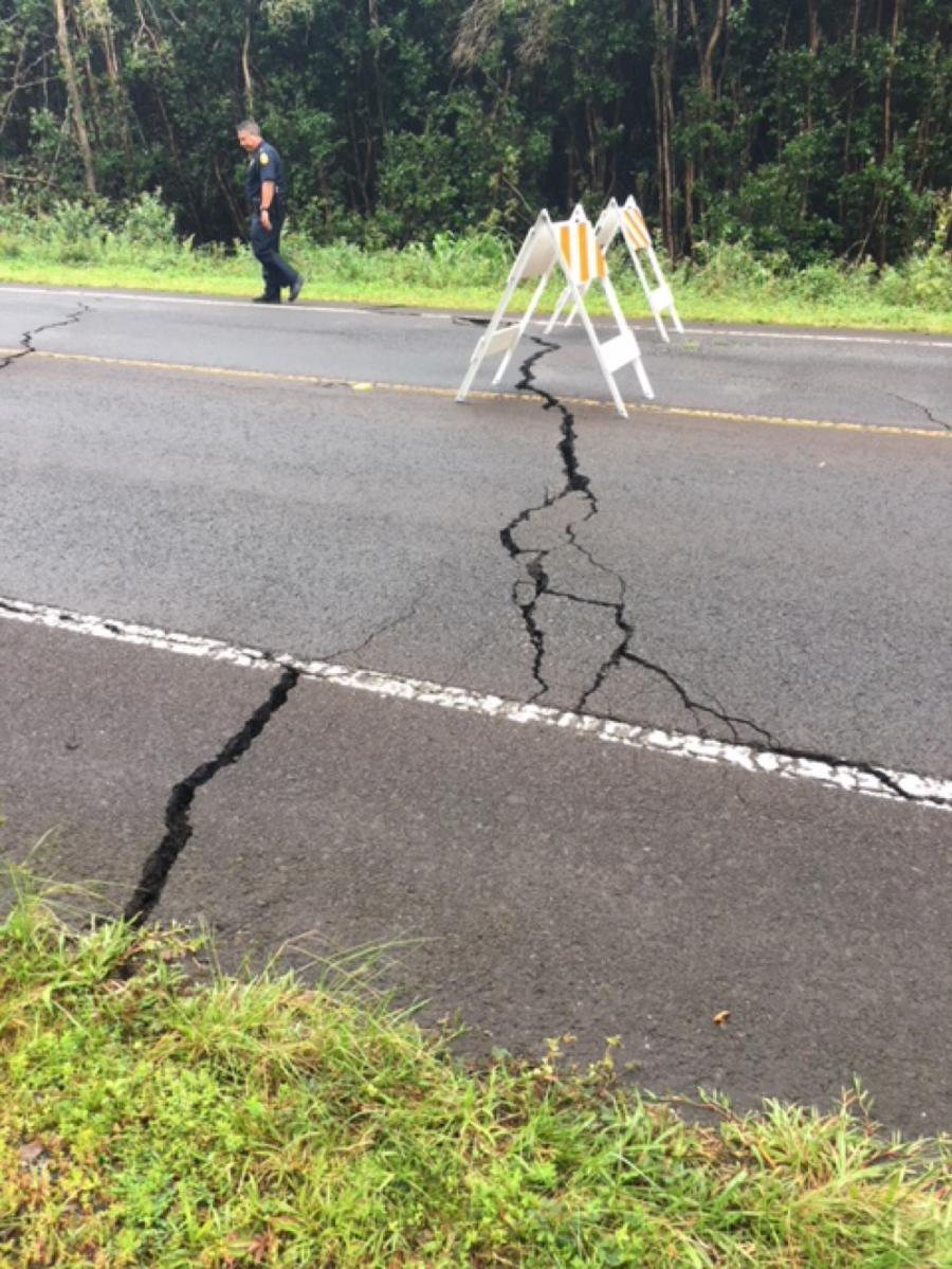 Highway 130 is closed between Highway 132 and Old Kalapana Road until further notice due to road cracking that could be related to potential volcanic fissures.