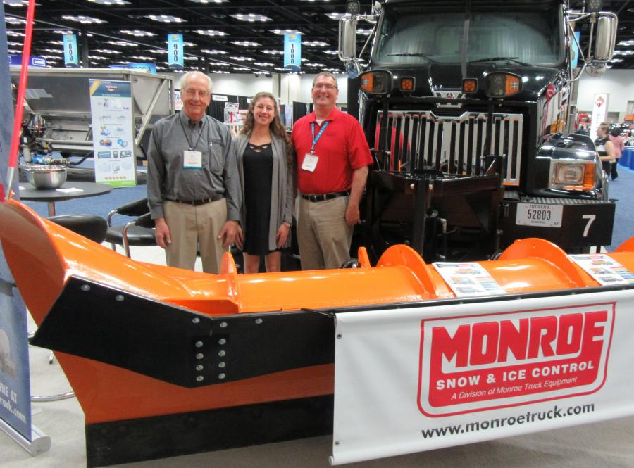 Don Gerber (L) and Tony Beaver (R) of Monroe Truck Equipment are joined by Cassie McNeal of W.A. Jones Truck Equipment to present a full range of winter maintenance equipment.