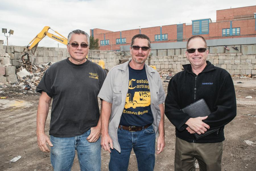 (L-R): Brothers and DeCostole Recycling & Transfer Station co-owners Dan and Rich DeCostole call on Ehrbar Sales Rep Steve Gambutti for their Komatsu equipment and service needs.