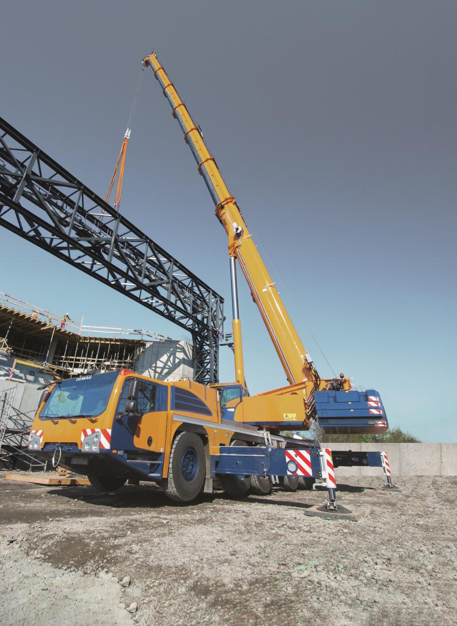 Scott-Macon Equipment's new 245 tons (220 t) capacity class Demag AC 220-5 all terrain cranes have a main boom length of 255.9 ft (78 m).