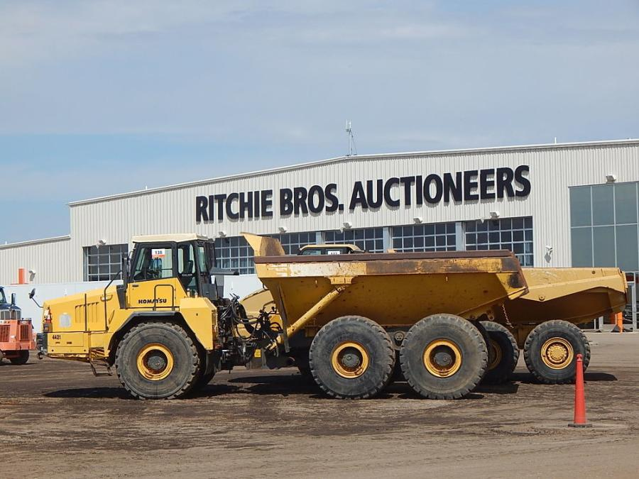 More than 2,900 bidders have their pick of excavators, loaders, compactors, dump trucks and other machines, such as this Komatsu artic truck.