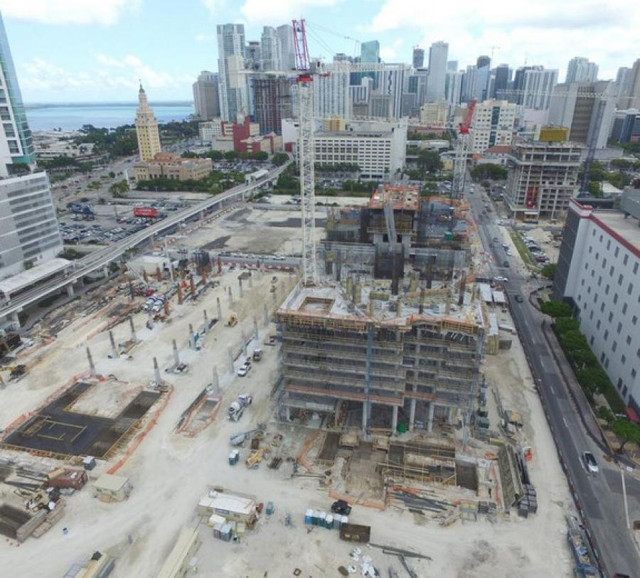 The Miami Worldcenter construction site has more than 800 workers active on the job site each day.