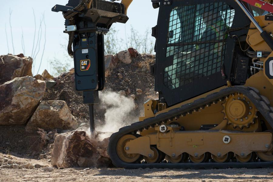 Cat B-Prefix hydraulic hammers, available in B4(s) and B6(s) silenced and B4 and B6 non-silenced versions, are suited for skid steer loaders, multi-terrain loaders, compact track loaders, mini hydraulic excavators (3- to 8-ton operating weights), and backhoe loaders working in a range of construction and light-demolition applications, including site prep, landscaping, masonry and concrete breaking.