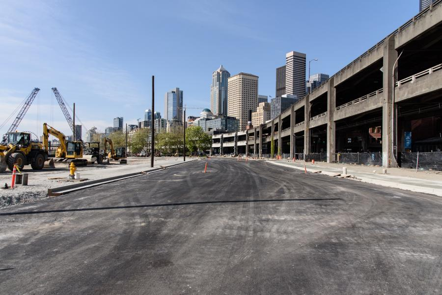 The temporary Alaskan Way surface street will move west of the viaduct with two lanes open in each direction along Seattle's waterfront.