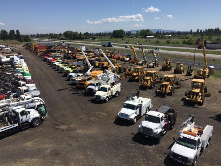 A bird's-eye view of the J. Stout Auction site — 8610 W. Geiger Blvd. — before the company's first Spokane auction on May 16.