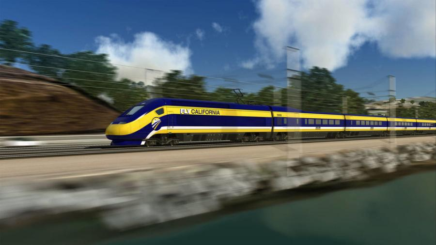An artist's rendering of a California bullet train.  (California High-Speed Rail Authority photo)