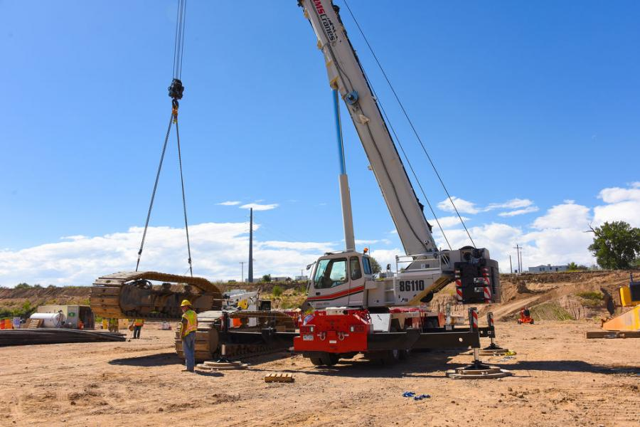 The HTC-86110 lifts 50,000 lb. (22,679 kg) track assemblies and excavator booms on two long boom excavators being disassembled following several months of work.