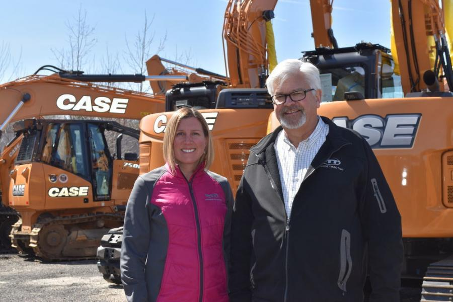 Laura Wilkas, director of marketing and the assistant general manager of New England operations, and Chuck Miller, general manager of Monroe Tractor's New England operations.