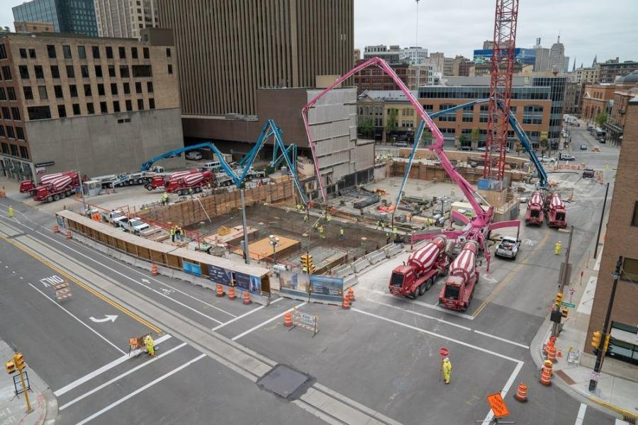Findorff is using a Potain MDT 368A top-slewing crane and a Manitowoc self-erecting T-130 crane to assist in the concrete-related activities.