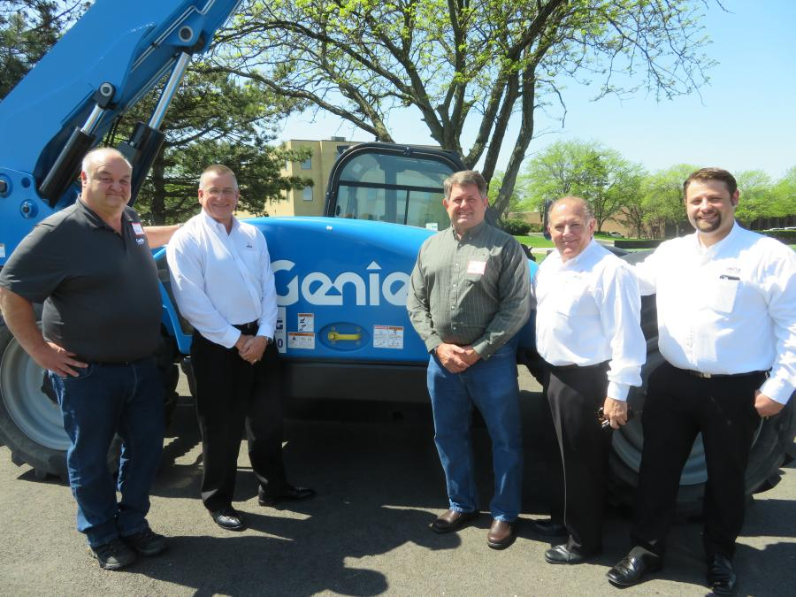 (L-R): Jim Pneuman of Genie; Bob Mann, president and CEO of Deutz Corporation; Bob Bartley of Terex Genie; Sal Mangialomini, branch manager of Deutz Service Center in Chicago; and Ron Schmidt, service supervisor of Deutz Service Center in Chicago stand in front of a Genie GTH-844 with a Deutz TCD 3.6 engine.