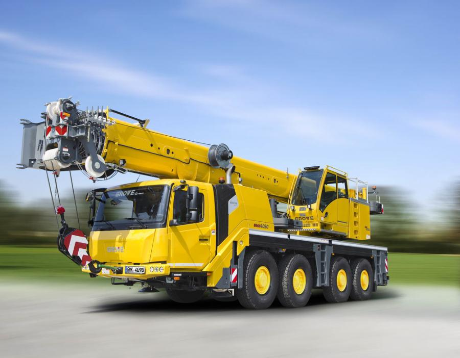 The GMK4090 crane features the new MAXbase outrigger system that expands options for crane set up on the job site.