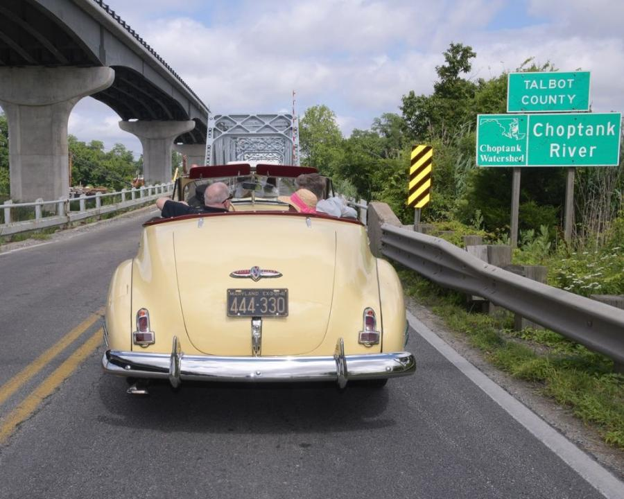 The governor arrived at the event after taking the final drive across the old Dover Bridge in a 1941 Buick owned and driven by Darlene Spence, who is affiliated with the St. Michaels Classic Motor Museum. (Maryland.gov photo)