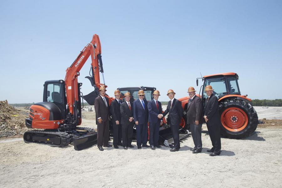 (L-R): Kansas Dept. of Commerce Interim Secretary Robert North; Kansas Dept. of Transportation Deputy Sec. BJ Harden; Dan Jones, Kubota VP; Kansas Dept. of Transportation Sec. Richard Carlson; Governor of Kansas, Jeff Colyer; Masato Yoshikawa, Kubota president and CEO; Edgerton Mayor Donald Roberts; Alex Woods, Kubota VP.