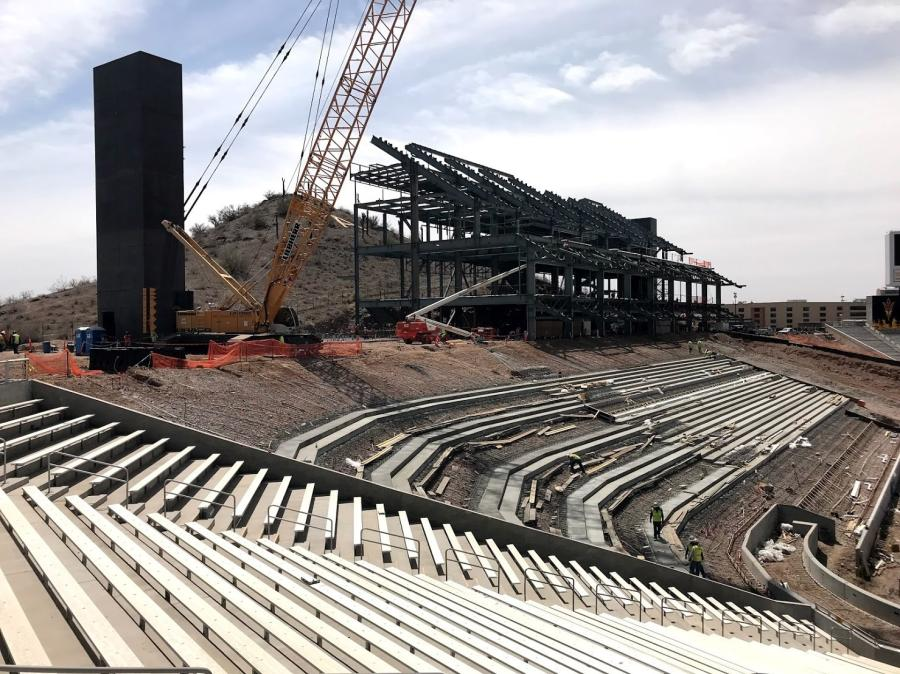 The $307 million Sun Devil Stadium project began with a preliminary phase in 2014 followed by south side work in 2015 and a focus on the west side in 2016. (Sundt Construction photo.)