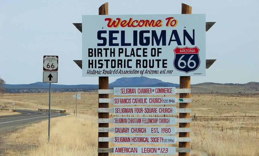 Connection with Interstate 40 is the lifeblood of a Historic Route 66 town like Seligman, where many tourists drop in for a taste of those neon-lit days gone by.