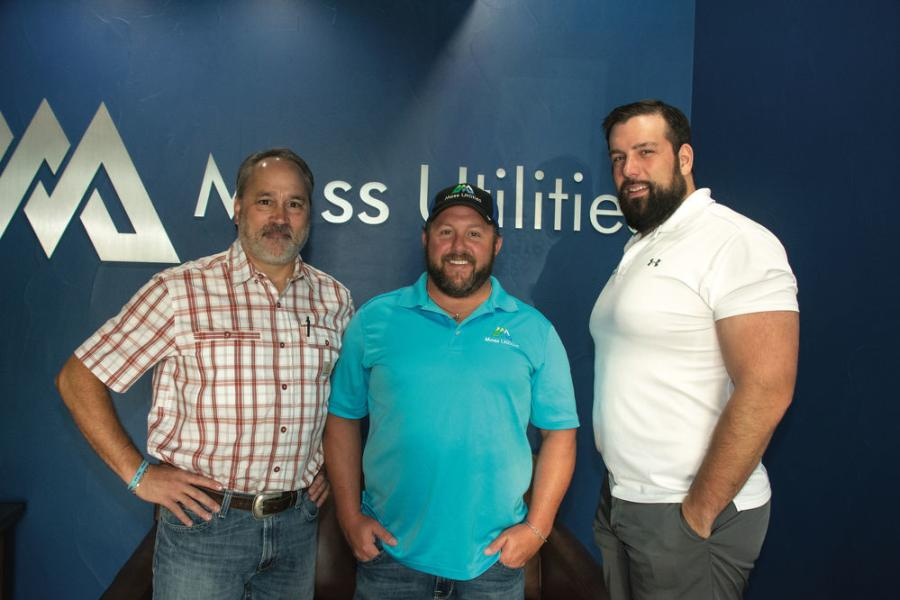 "(L-R): Pat Farquharson, Kirby-Smith Machinery territory manager meets with Moss Utilities Owners Case Whitfield, vice president, and Garrett Moss, president, at their office in Irving, Texas. ""Pat and Kirby-Smith in general have been great to work with,"" said Whitfield. ""I feel like I can call him anytime of the day or night and get a response."""