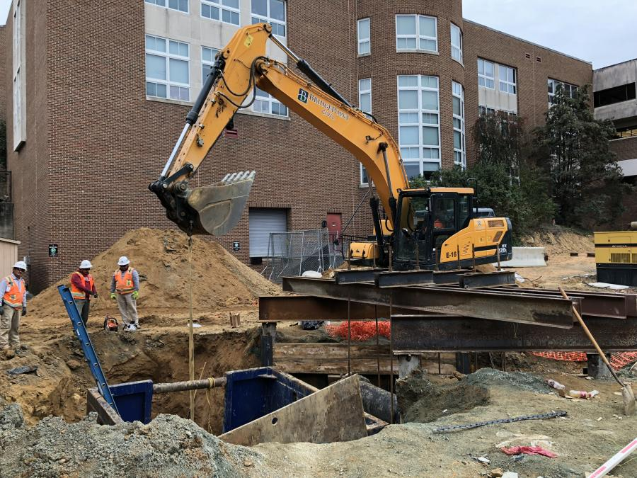 For this job, BridgePoint Civil has a fleet of 10 excavators, which includes this Hyundai HX220L.