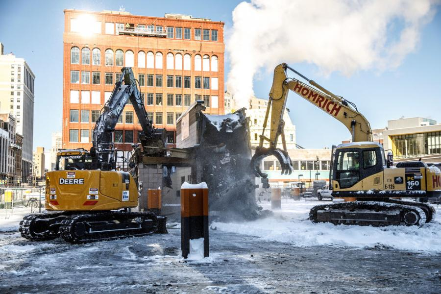 Demolition crews broke ground in December on Bedrock's $900 million tower complex, featuring a 58-story, 800-ft. tall tower in downtown Detroit on the site of the former J.L. Hudson Co. department store that closed in 1983.