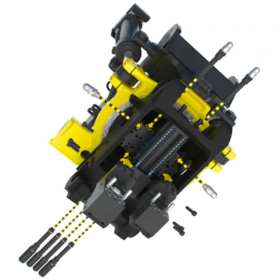 Two of Engcon's products — the GRD, a detachable grab cassette, and the SWD, a detachable brush sweeper — can now be retrofitted entirely without hoses.