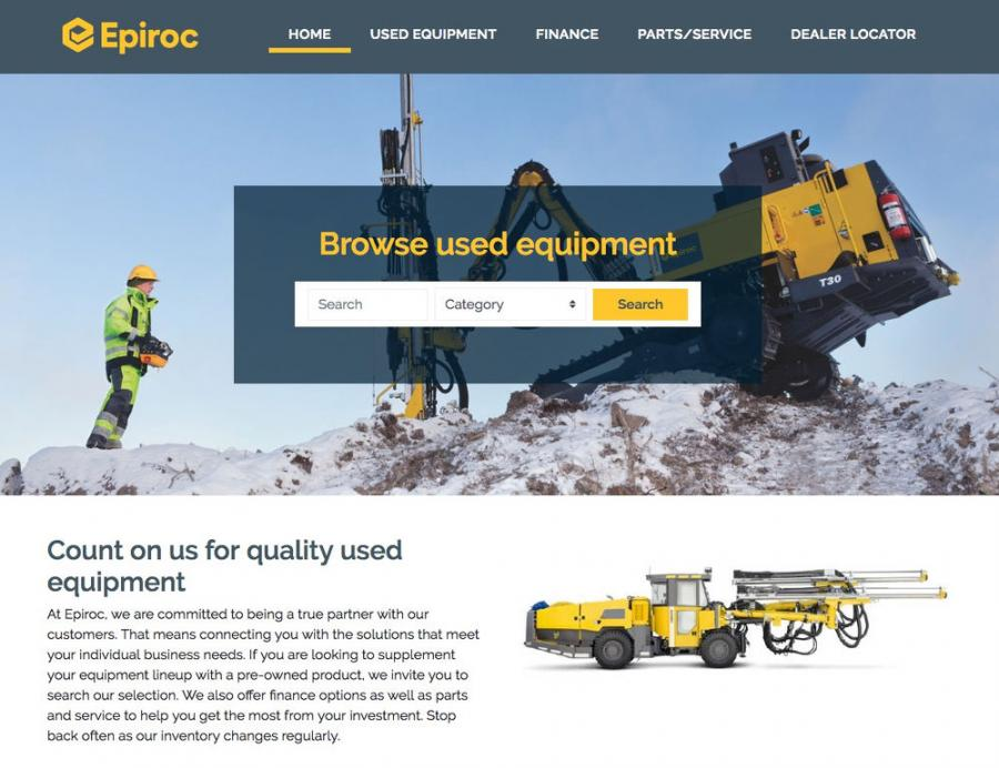 The website's user-friendly design enables visitors to search for used equipment by product category and specific product.