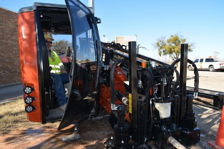 Perry Graff demonstrates the improvements in the cab area of Ditch Witch's new all-terrain directional drill.