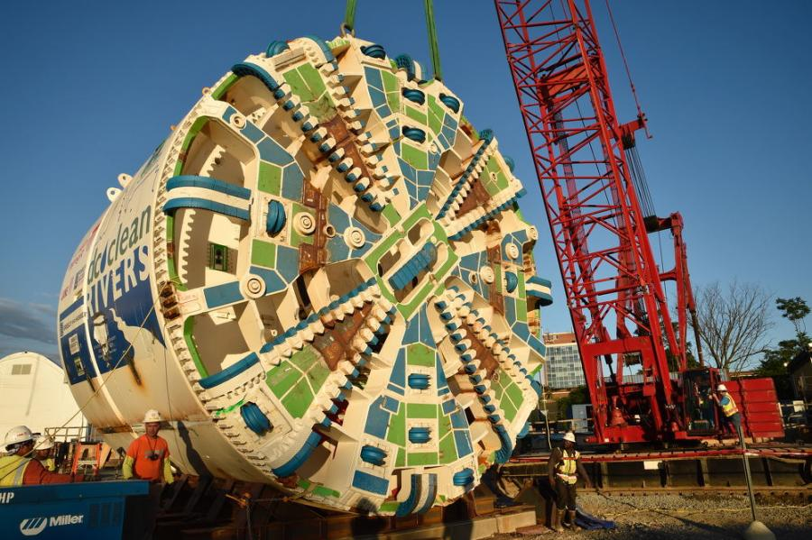 The German-manufactured Herrenknecht tunnel boring machine features a 26 ft.-3 in.-diameter