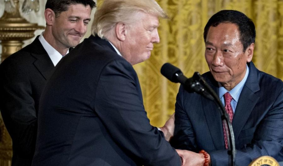Terry Gou (right), chairman of Foxconn and President Donald Trump
