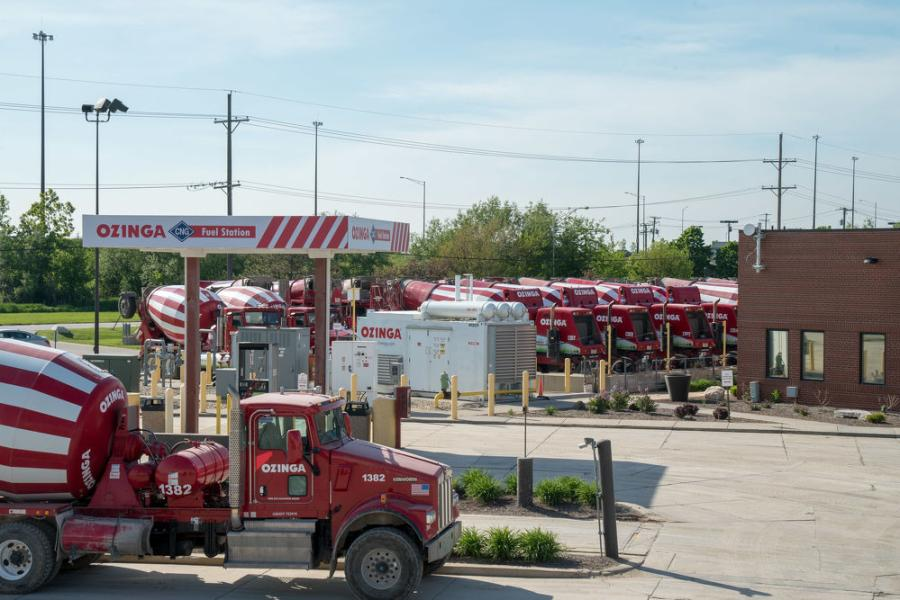 Ozinga is known on the streets for its red-and-white-striped ready-mix concrete trucks.